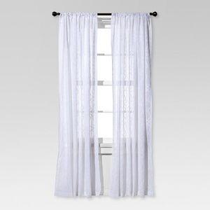 Threshold Accents - NIP 2 Threshold Clipped Sheer Curtain Panels White